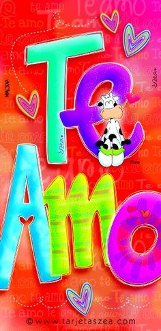 """Vaca Flora sentada en una """"e"""" de la palabra te amo © ZEA www.tarjetaszea.com"""