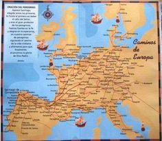 Camino de Santiago Map. All the European routes Map. Via de Arles, Via de Vezelay, Via de Le Puy Maps.