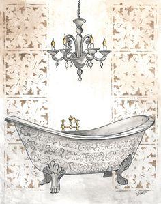 Bathroom Bathroom Prints, Bathroom Art, Bathroom Colors, Bath Art, Bathroom Towels, Images Vintage, Vintage Pictures, Claw Foot Bath, Ideas Baños