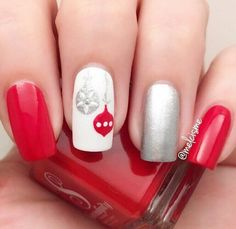 Metallic colors are popular for a long time, so feel free to decorate some or all your nails in this shade. It also can be combined with other colors, like here with red …