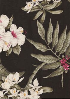 10pua Tropical Hawaiian Orchids, Bougainville & Hibiscus flowers - cotton barkcloth fabric.  More fabrics at: BarkclothHawaii.com