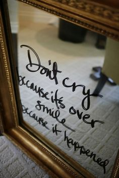 Quote on mirror with vinyl lettering maybe??? With the cameo?