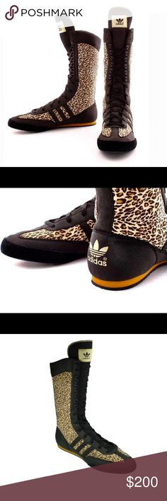 best service 3541e d9be6 ADIDAS x JEREMY SCOTT Boxing Champ Leopard Sneaker ADIDAS x JEREMY SCOTT  Collaboration Leopard Animal Cheetah Print Boxing Champ Tall Lace Up Boot  Shoe.