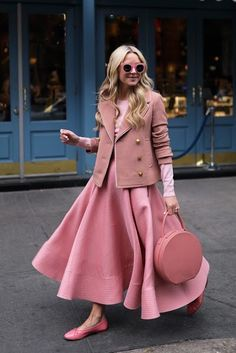 11.16 pink lady (J Crew short double-breasted coat + Joe Fresh sweater in perennial pink + Roksanda full skirt + Chanel flats + Mansur Gavriel circle bag + Illesteva sunnies)