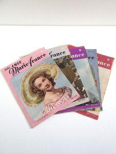 Magazines vintage 1947 lot de 5 Marie France no par BrocAndPop
