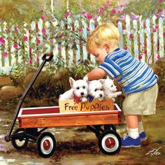 ❤️❤️❤️Donald Zolan - Puppy Love. Zolan's own carefree happy childhood in Brookfield, IL was the inspiration for many of his paintings. In Puppy Love, Zolan not only relives those moments that he shared with Skipper but also a part of Brookfield was captured in the painting.