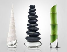 """ZEN"" perfume design-concept by Igor Mitin. ""The main objective was to emphasize the naturalness of the fragrances and to strengthen eastern meditative mood contained in the word Zen. Best Perfume, Perfume Bottles, Perfume Packaging, Bottle Packaging, Water Packaging, Zen Design, Design Blog, Creative Design, Crystals"