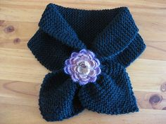 Black Scarf with knitted Flower Brooch