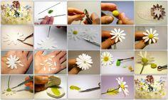 How to make chamomile sugar flower. By:Elena Grebennikova http://www.livemaster.ru/topic/87331-romashka-iz-samozastyvayuschej-polimernoj-gliny