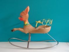 Vintage Deer Fawn Bambi Baby Rocking Horse Toy, Design by Canova Italy, 1960s