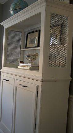 diy with cut out sheet metal. Cover dresser top with sheet metal for texture in dining room.