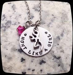 Hunting Gift, Personalized Hunt Like A Girl, Deer Hunter,  HandStamped Jewelry, Aluminum Disc Charm by ThatKindaGirl on Etsy