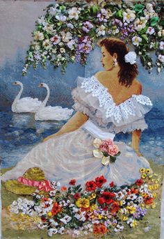Wonderful Ribbon Embroidery Flowers by Hand Ideas. Enchanting Ribbon Embroidery Flowers by Hand Ideas. Silk Ribbon Embroidery, Hand Embroidery Patterns, Beaded Embroidery, Cross Stitch Embroidery, Cross Stitch Patterns, Embroidery Designs, Ribbon Art, Ribbon Crafts, Image Nature