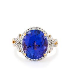 An alluring Ring from the Lorique collection, made of 18k Gold featuring 8.80cts of charming AAAA Tanzanite with sparkling Diamonds.
