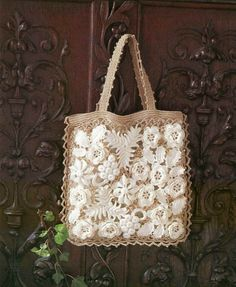 irish lace bag from japanese craft book. This could be made into a Christmas ornament and you could tuck a small vintage sepia photo of a loved one inside.