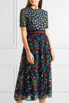 Saloni - Jackie Crochet-trimmed Embroidered Tulle Midi Dress - Green - UK