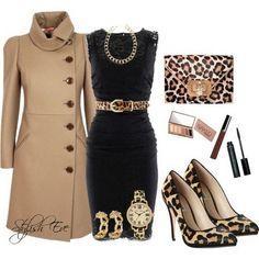 Бежевый и черный цвет в стильном сочетании с леопардовым принтом.