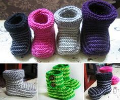 Striped Knitted and Crochet Baby Booties Free Pattern
