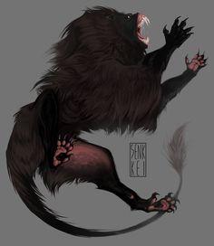 kaimen 2 by Senkkei on DeviantArt Monster Concept Art, Monster Art, Mythical Creatures Art, Fantasy Creatures, Alien Creatures, Creature Concept Art, Creature Design, Fantasy Beasts, Creature Drawings