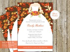 BRIDE TO BE INVITE - FALL Printable Invitation  This listing is for a invitation file customized with your party information, ready to print! Simply print at home or at your local printing shop. Please be sure to read through of the details in this listing. HOW TO ORDER During checkout, please provide of the invitation details in the Notes section. Details to include: Size Preference: 5x7 or 4x6 (5x7 is default and works best with this layout, but 4x6 is available upon request) Name Date…