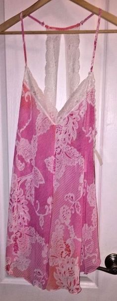 NWT In Bloom by Jonquil Pink Floral Sheer Chemise Lingerie Nightgown Women's #InBloombyJonquil #BabydollChemise #Everyday