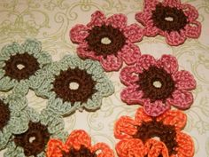 Two Color Crocheted  Flowers by EssentiallyYourss on Etsy, $5.98