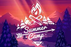 Summer camp typography design by Krol on Creative Market,logo, camp, camping, summer, mountain, vector, emblem, adventure, outdoor, symbol, vintage, design, forest, sign, hiking, nature, label, wilderness, banner, badge