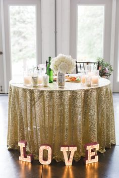 sweetheart table sequins