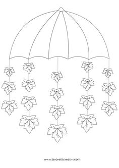 Umbrella crafts for preschool Fall Arts And Crafts, Winter Crafts For Kids, Autumn Crafts, Autumn Art, Diy For Kids, Diy And Crafts, Autumn Leaves, Umbrella Template, Under My Umbrella