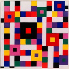 """""""The Great Field of Action or the 64 Hexagrams"""". Charmion von Wiegand (1896-1983) was an American journalist, abstract painter, and art critic. In 1941, she interviewed the Dutch artist Piet Mondrian. She became close friends with Mondrian, who influenced her to start creating abstract art. She became an associate member of the American Abstract Artists in 1941, exhibiting with them from 1948. She was also a mystic who drew inspiration from eastern philosophies and alternative religions."""