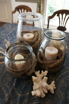 Nautical Centerpiece with rope and pillar candles - tried and true, like the addition of the paisley