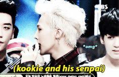 Kookie looks so star struck! lol #gdragon #jungkook