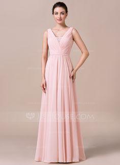A-Line/Princess V-neck Floor-Length Chiffon Bridesmaid Dress With Ruffle Lace (007057733) - JJsHouse