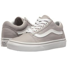 Vans Old Skool (Drizzle/True White) Skate Shoes ($55) ❤ liked on Polyvore featuring shoes, sneakers, white lace up shoes, leather shoes, leather sneakers, white leather trainers and lace up shoes
