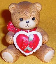 Porcelain Lucy and Me Sitting Teddy Bear with Heart Pillow Valentine Figurine 1984