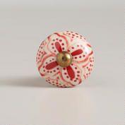 Red Basic Ceramic Floral Knobs, Set of 2 - World Market