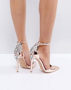 Rose gold metallic high heels with rhinestones on the back of the heels. Fun!! (Sponsored affiliate link)