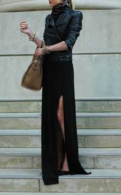 Latest fashion trends: Street fashion split maxi skirt and leather coat