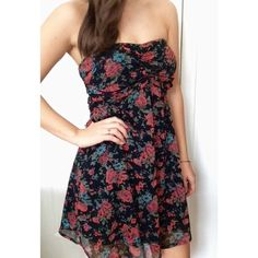 Strapless floral dress Black strapless dress with red and blue floral print, ties in the back Dresses Strapless