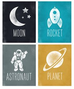 Raum Art Kids Boys Room Decor Astronaut Rakete von RandysDesign