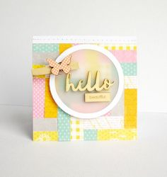 Hello Beautiful Card by Nicole Nowosad featuring Jillibean Soup Wood Veneers, Clothespins, Healthy Hello and Mushroom Medley pattern papers
