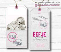 Birth announcement, meisjes label, volkswagenbus, lief, roze, stoer, fotokaart, geboortekaartje, aagjeontwerp