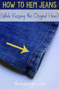 A well-fitting pair of jeans is a find and sometimes they need to be hemmed and this is the right way to do it.  Here's how to make your jeans last: http://www.chiconashoestring.com/interactive-blog/how-to-make-your-jeans-last