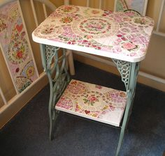 Shabby Mosaic Sewing Table-SOLD would love to have this for my sewing machine! Decor, Home Crafts, Furniture, Table, Shabby Chic, Mosaic Furniture, Furniture Projects, Shabby, Home Decor