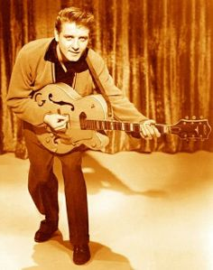 """Eddie Cochran, one of the very first guitar heroes. He helped to make Gretsch guitars a """"go to"""" instrument for players of just about any genre. Nobody did """"cool"""" like Eddie Cochran. 50s Rock And Roll, Rock N Roll Music, The Rock, Elvis Presley, Eddie Cochran, Beatles, Get Down On It, Rockabilly Music, Rockabilly Style"""