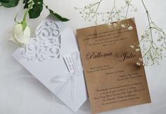 Convite Love Provence - convite, casamento, debutante, 15 anos, provençal, rústico, kraft, branco, arabescos, coração, cortado a laser, fita organza, shabby chic, invitation, wedding, rustic, arabesque, provencal