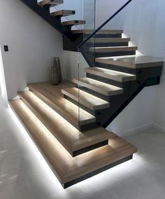 LED strip lighting to illuninate the feet journey. LED strip lighting to illuninate the feet journey.,Wohndesign LED strip lighting to illuninate the feet journey. Home Stairs Design, Interior Stairs, Modern House Design, Stairs Architecture, Light Architecture, Architecture Design, Stair Lighting, Hallway Lighting, House Lighting