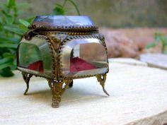 French antique art nouveau beveled glass Ormolu jewelry box seine Paris France.