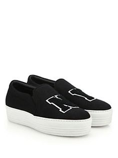 b66bb6d1822 Joshua Sanders - NY Felt Slip-On Platform Sneakers Joshua Sanders