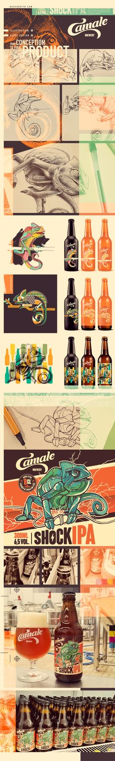 "The designs for this beer bottle plays with the idea of pattern and colour to create an intricate and elaborate play on a ""chameleon"". Using geometrical shapes and varying thickness of line work gives the chameleon character, and the colour palette used also elaborates on the ""shock"" and ""exciting"" idea of the brand. The use of texture gives the label a print-making feel, which I think expands on the grunge and handmade feel."